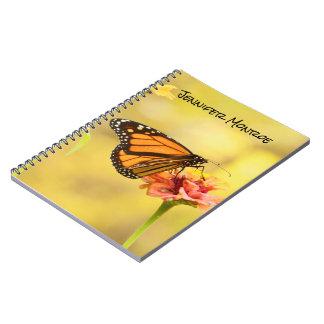 Monarch Butterfly on Zinnia Spiral Notebook