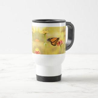 Monarch Butterfly on Zinnia Travel Mug