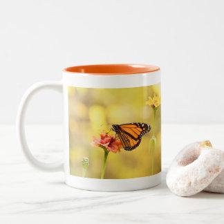 Monarch Butterfly on Zinnia Two-Tone Coffee Mug