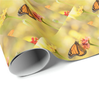 Monarch Butterfly on Zinnia Wrapping Paper