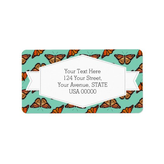 Monarch Butterfly Pattern Label