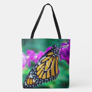 Monarch butterfly photo custom monogram tote bag