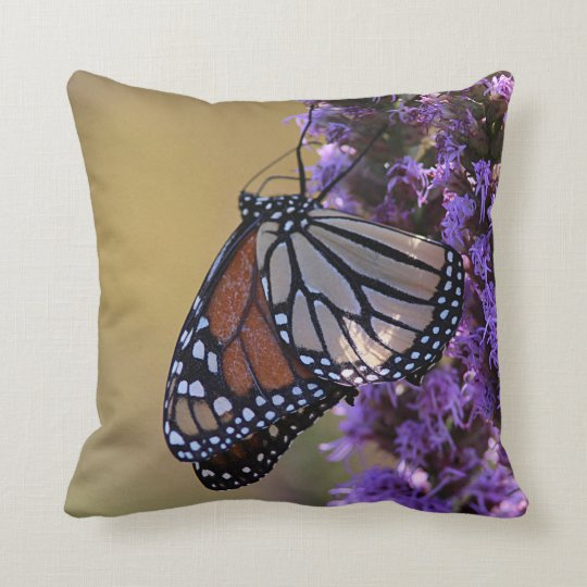 Monarch butterfly profile throw pillow