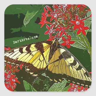 Monarch Butterfly Red Flowers inspiring stickers