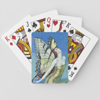 Monarch Butterfly Red Hair Vintage Fairy Playing Cards