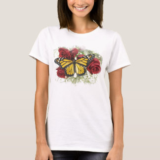 Monarch Butterfly Red Rose Large T-shirt