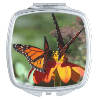 Monarch Butterfly Sunflower Flower Floral Compact Travel Mirror