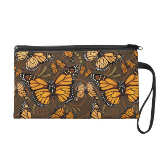 Monarch Butterfly Swirls Wristlet Clutches