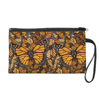 Monarch Butterfly Swirls Wristlet Purse
