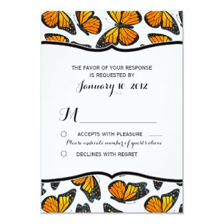 "Monarch Butterfly Wedding RSVP 3.5"" X 5"" Invitation Card"