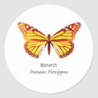 Monarch Butterfly with Name Classic Round Sticker
