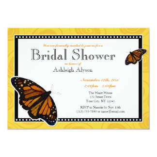 Monarch Butterfly Yellow Bridal Shower Invitations