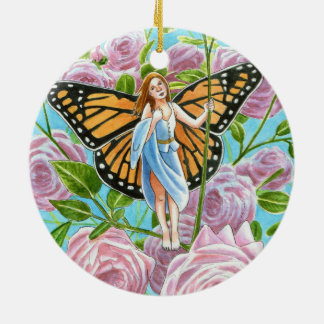 Monarch Fairy amongst the Roses Ceramic Ornament