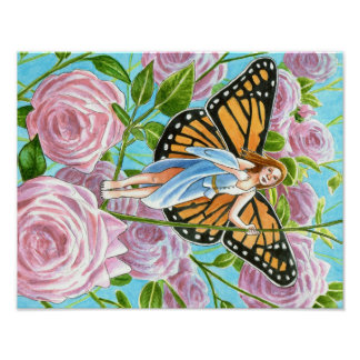 Monarch Fairy amongst the Roses Poster