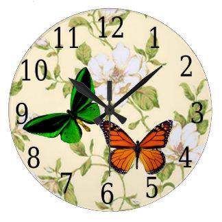 Monarch & Green Butterfly On Dogwood Flowers Clock