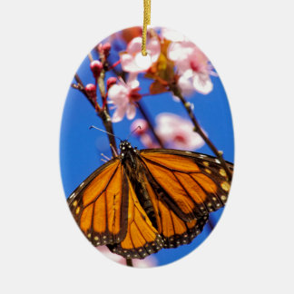 Monarch on Cherry Blossom Ceramic Ornament