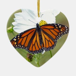 Monarch on Cosmos Ceramic Heart Ornament