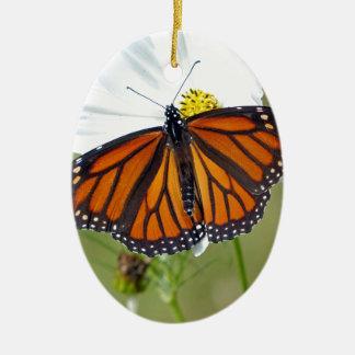 Monarch on Cosmos Ceramic Oval Ornament