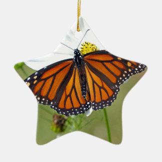 Monarch on Cosmos Ceramic Star Ornament