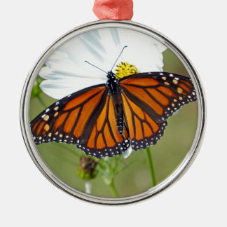 Monarch on Cosmos Silver-Colored Round Ornament