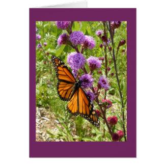 Monarch on Prairie Gayfeather Blank Note Card