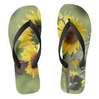 Monarch on Sunflowers Flip Flop Sandals