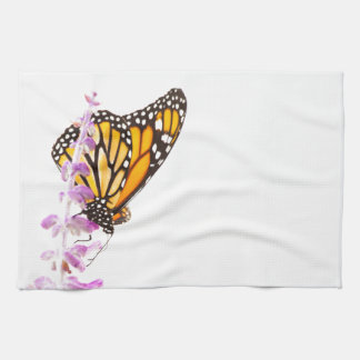 Monarch perched on lavender kitchen towels