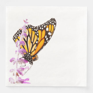 Monarch perched on lavender paper napkin
