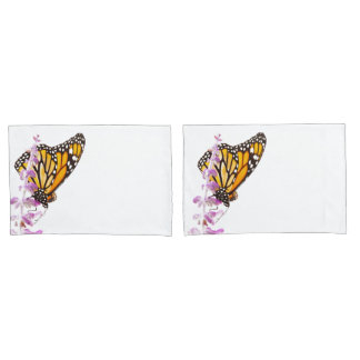 Monarch perched on lavender pillowcase