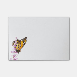 Monarch perched on lavender post-it notes