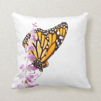 Monarch perched on lavender throw pillow