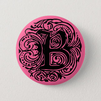 "Monarchia Black  ""B"" 2 Inch Round Button"