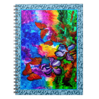 Monarchs at Sunset Blue Lace Border 6.5 x 8.75 Spiral Notebook