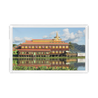 Monastery By A Lake Acrylic Tray