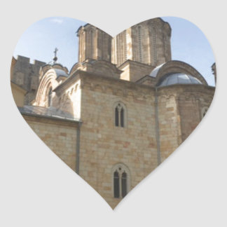 Monastery in Serbia Heart Sticker