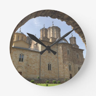 Monastery in Serbia Round Clock