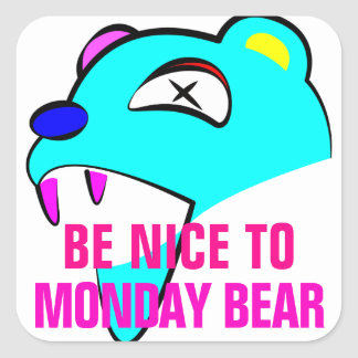 Monday Bear Square Sticker