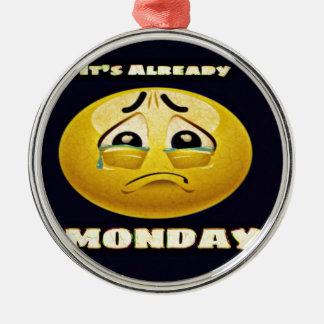 Monday Blues Metal Ornament