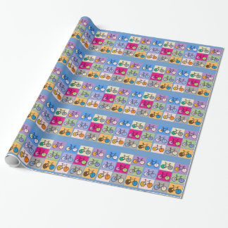 Mondrian Art Bicycle Grid Wrapping Paper