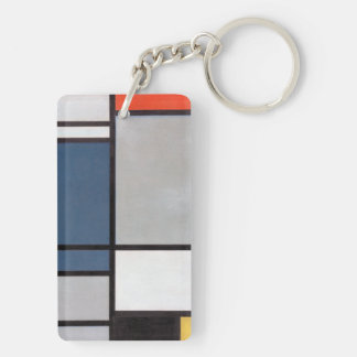 Mondrian Composition with Red, Blue, Black, Yellow Keychain