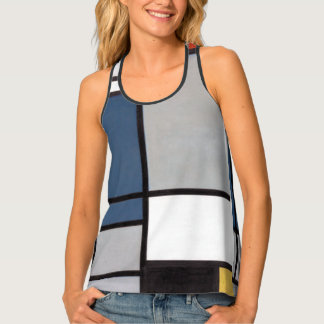 Mondrian Composition with Red, Blue, Black, Yellow Tank Top