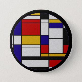 Mondrian De Stijl 3 Inch Round Button