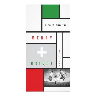 Mondrian De Stijl Minimalist Holiday Greetings Personalized Photo Card
