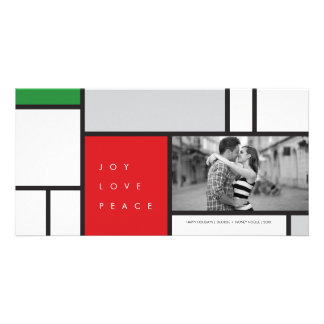 Mondrian De Stijl Minimalist Joy Holiday Greetings Customized Photo Card