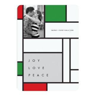 "Mondrian De Stijl Minimalist Photo Holiday Card 5"" X 7"" Invitation Card"