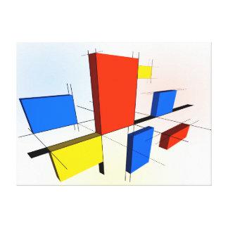 Mondrian Inspired 3D Canvas Print
