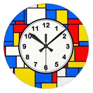 Mondrian Inspired Style Red Blue Yellow Pattern Wallclock