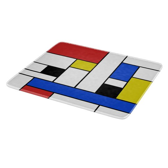 "Mondrian Lines Glass Cutting Board 6""x7"""