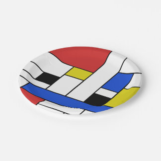 "Mondrian Lines Paper Plates 7"" 7 Inch Paper Plate"
