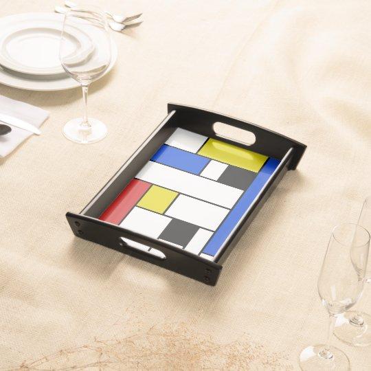 Mondrian Lines Small Serving Tray, Black Serving Platter